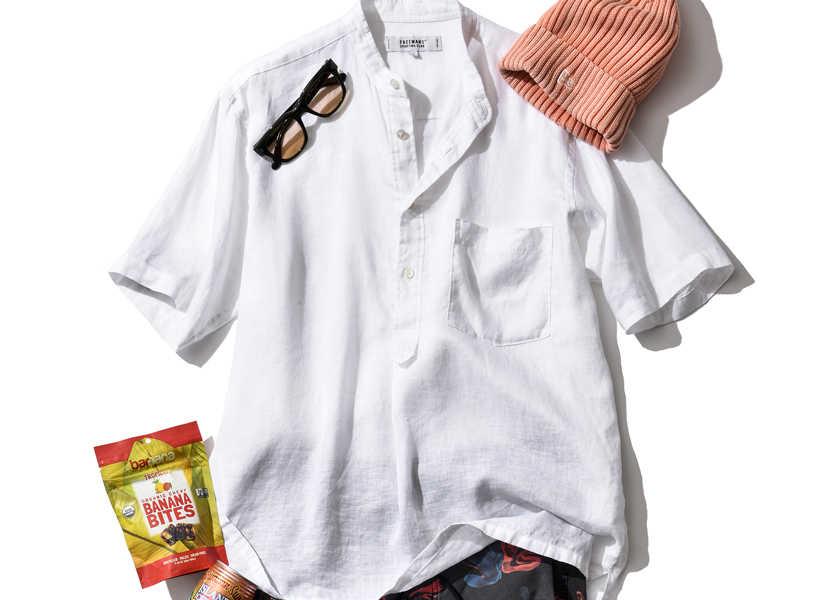 大人のお洒落コーデ集!ショーツ姿を大人に見せるバンドカラーシャツ!
