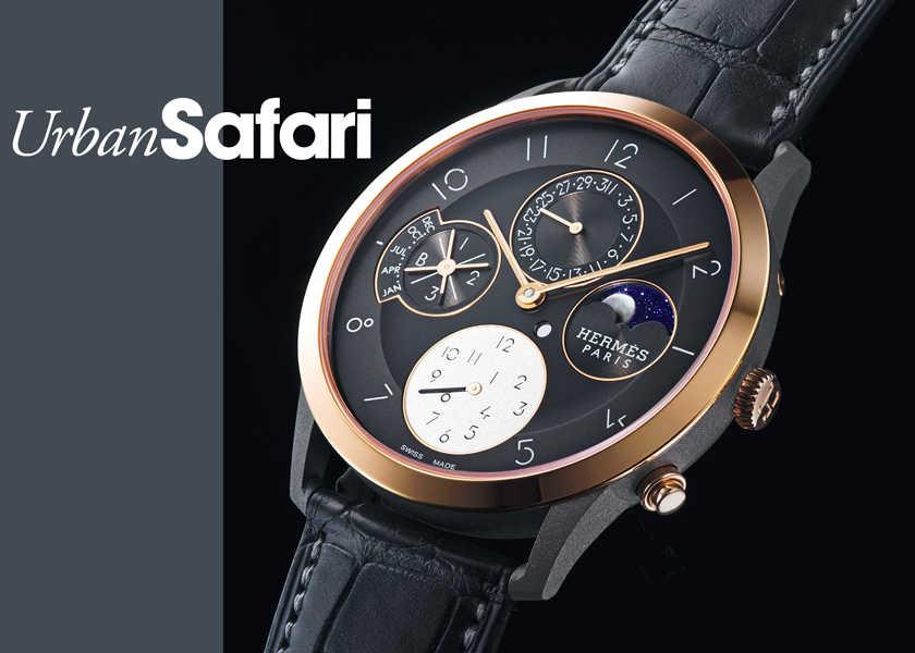 """チタンケースを採用した〈エルメス〉の新作。""""永久""""を備えた時計は美しさと軽やかさも""""A級""""。"""