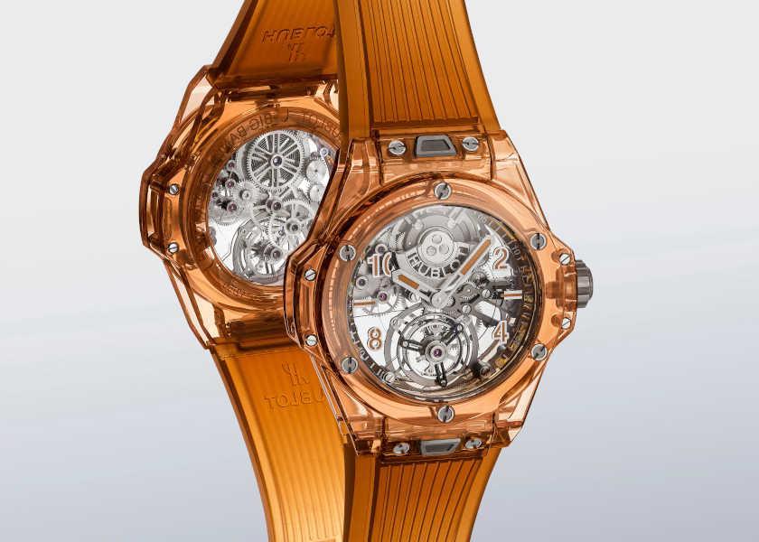 〈ウブロ〉のサファイア時計は気持ちも前向きになるオレンジカラー!