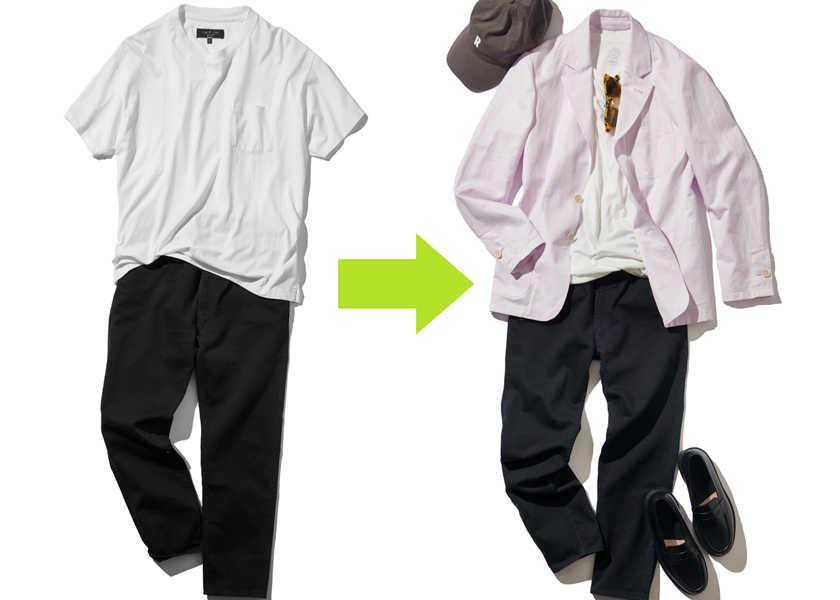 """人気の""""白T+黒パンツ""""コーデに、春らしさを出す簡単テク!"""