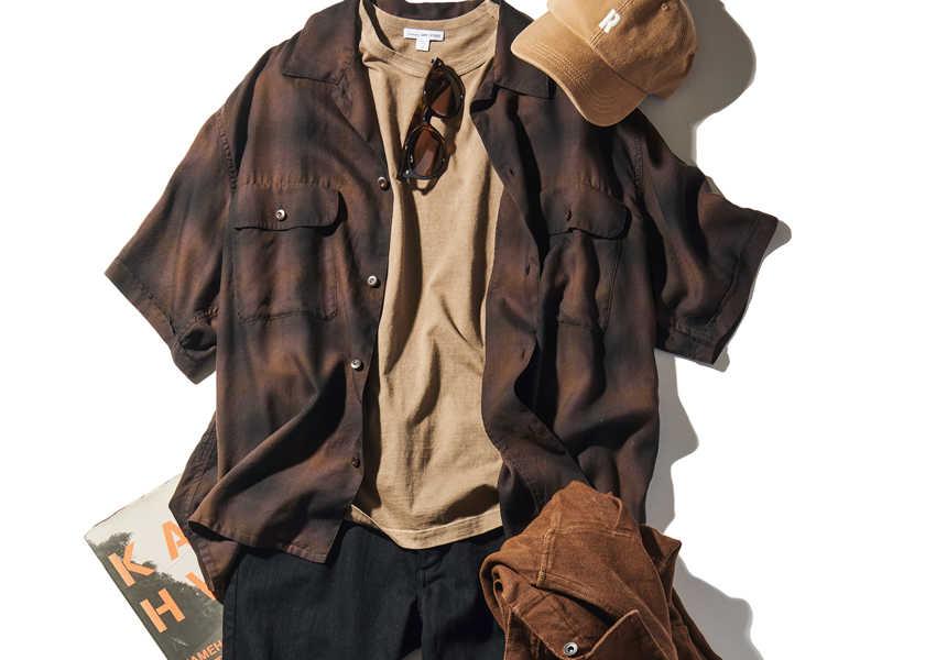 大人のお洒落コーデ集!渋色の開襟半袖シャツが使える!