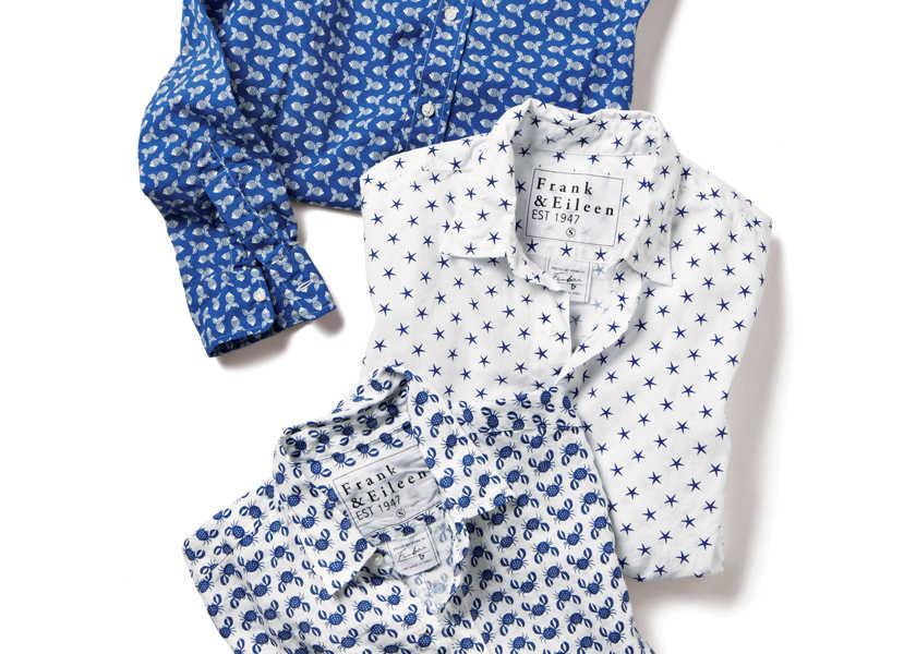 Catch the Wave! [フランク&アイリーン/海モチーフ柄のシャツ]〈フランク&アイリーン〉大好きな海モチーフがシャツで纏える幸せ!