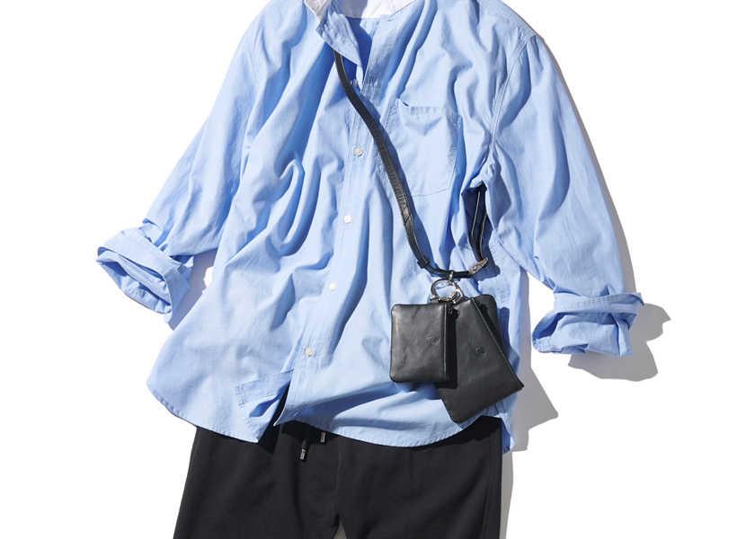 """ブルー系シャツで見違える! 上手な""""黒スウェットパンツ""""の生かし方!"""