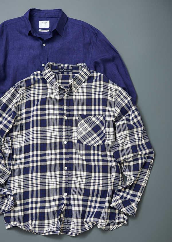 大人の秋を品よく彩るシックな紺青シャツ!