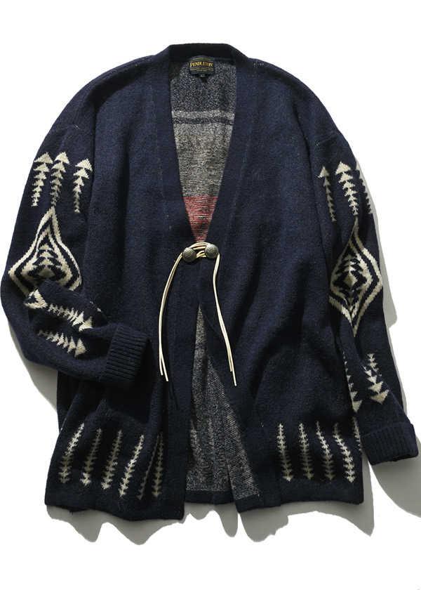 今の時季に使える〈ペンドルトン〉別注のニットジャケットは自信作!
