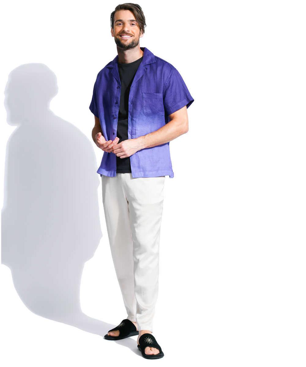 リネンオープンカラーシャツ