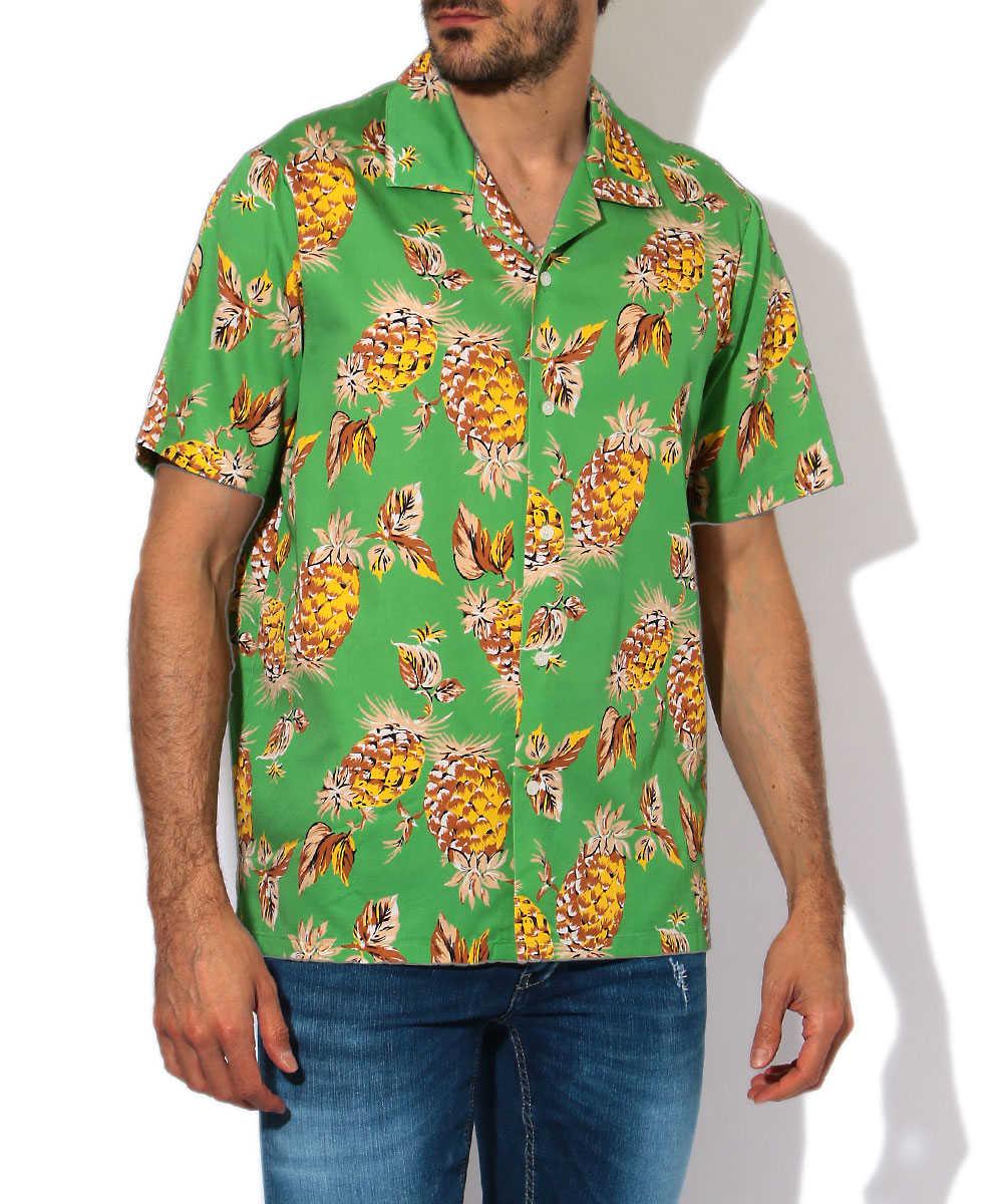 パイナップル柄開襟アロハシャツ