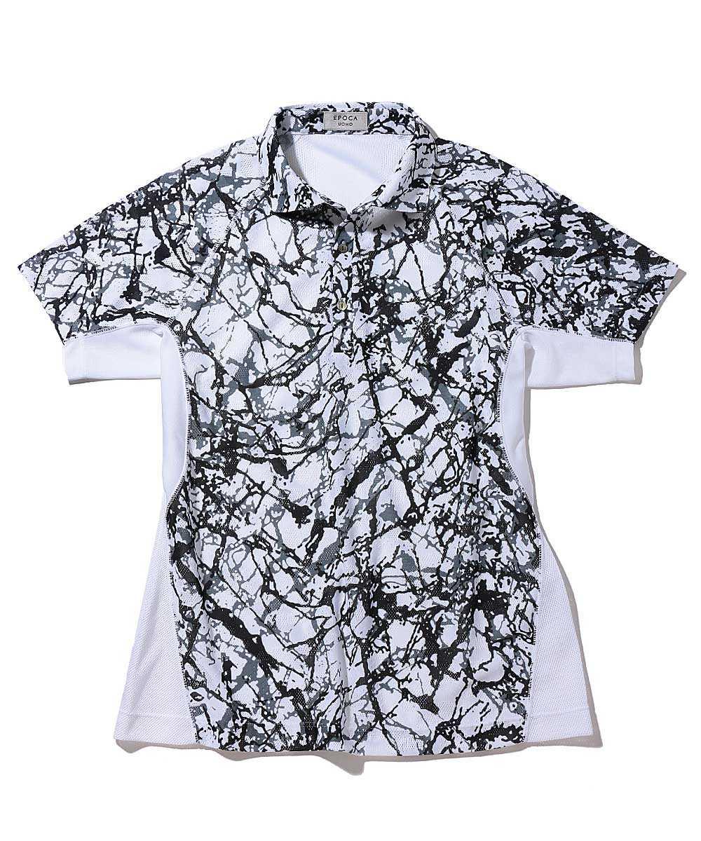 カモフラジャカードプリントポロシャツ