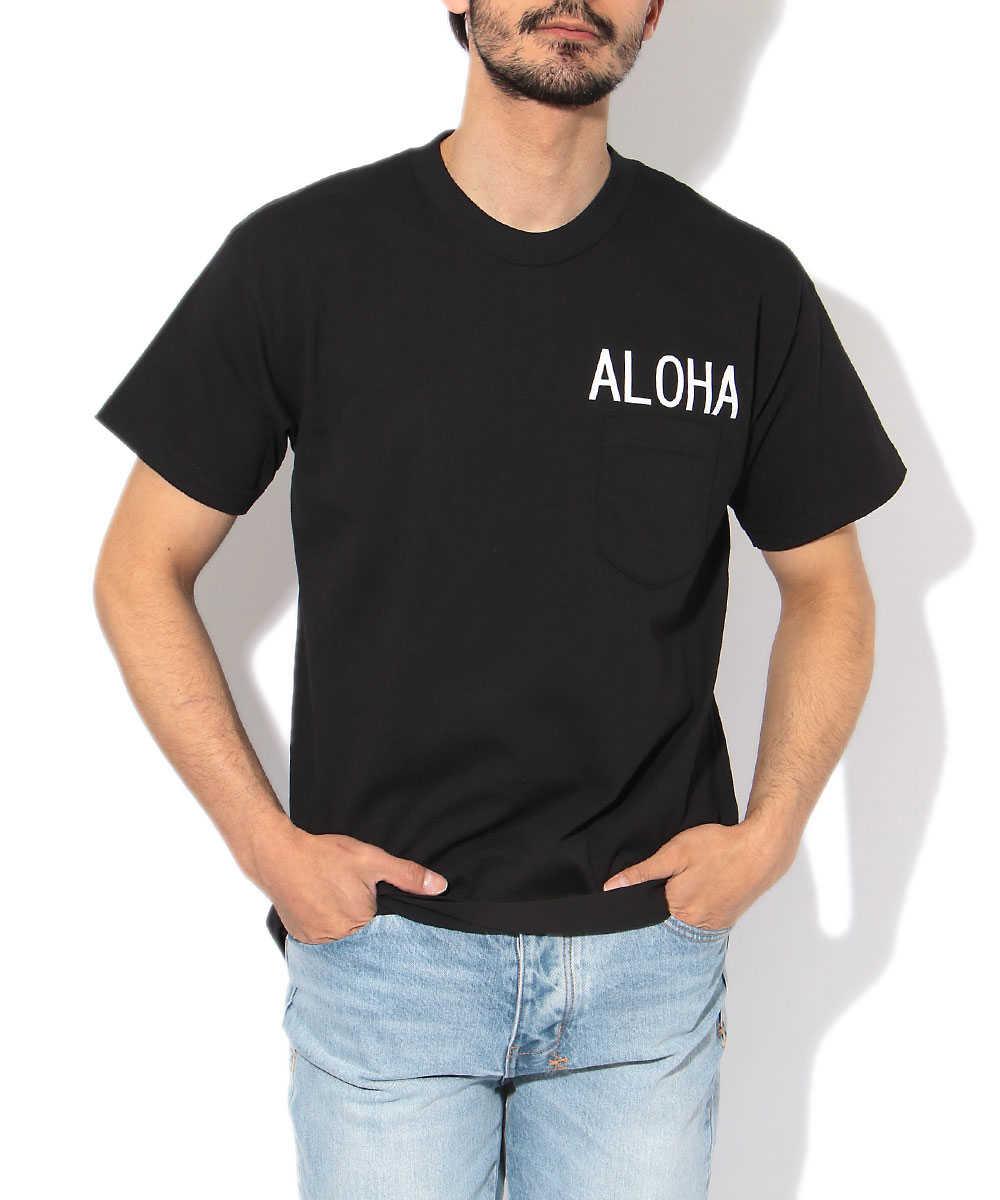 クルーネックプリントポケットTシャツ