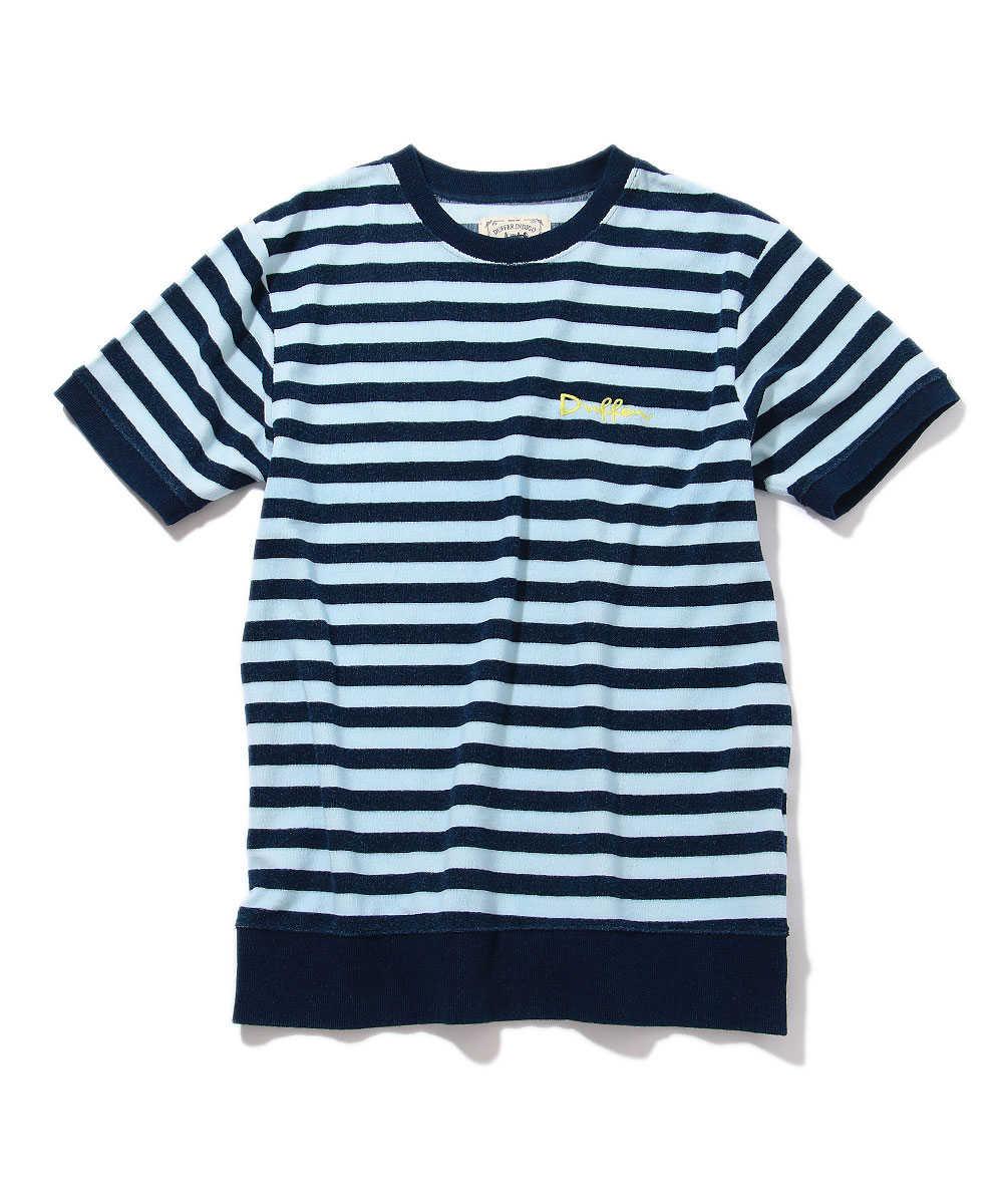 インディゴパイルボーダークルーネックTシャツ