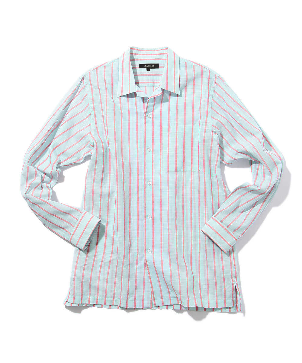 【別注商品】ストライプオープンカラーシャツ