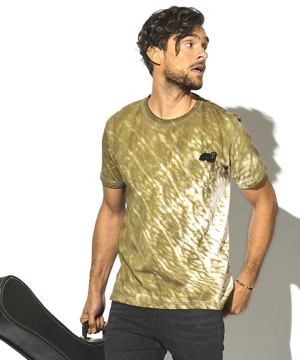 しぼりムラ染めクルーネックTシャツ