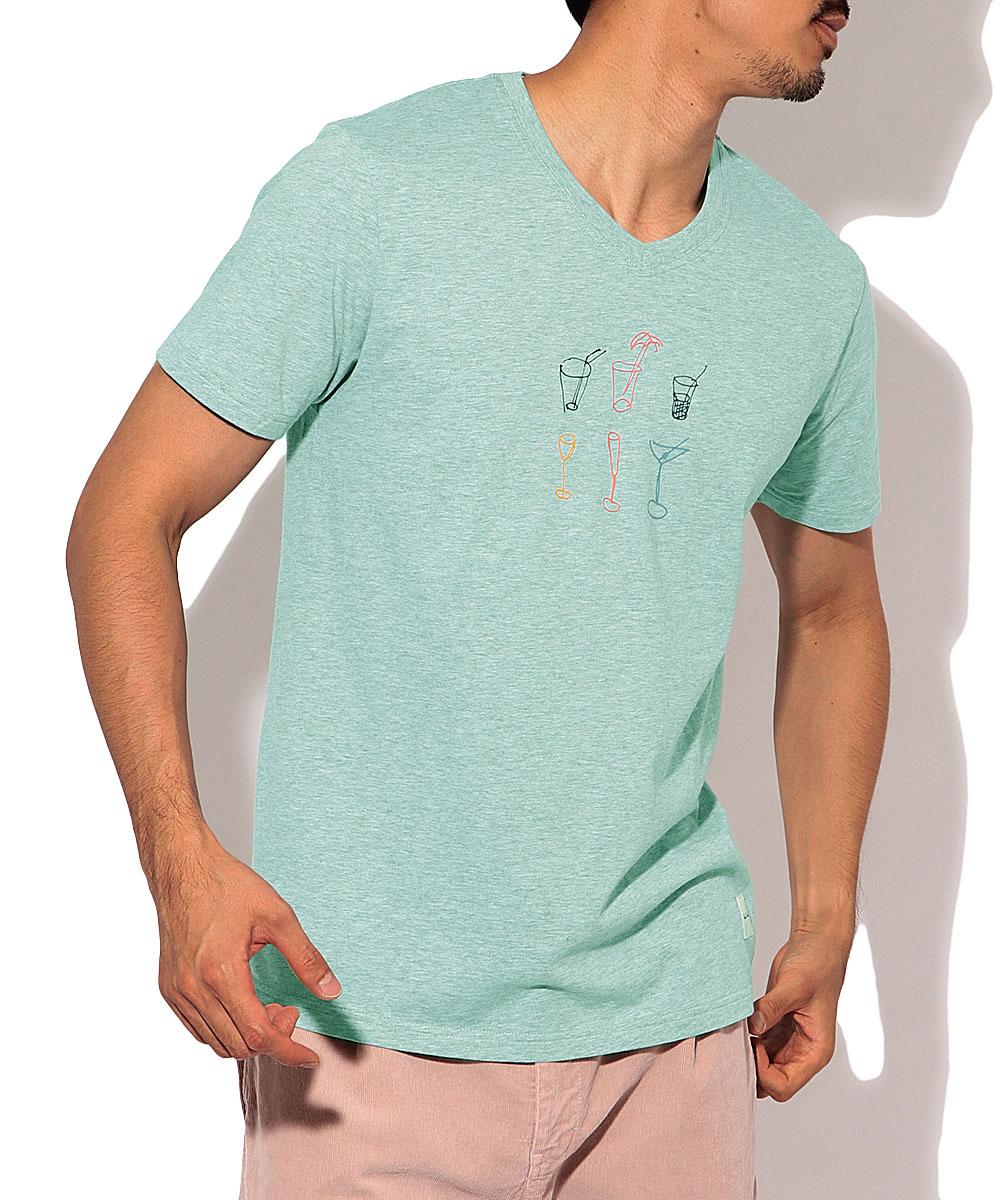 プリントVネックTシャツ