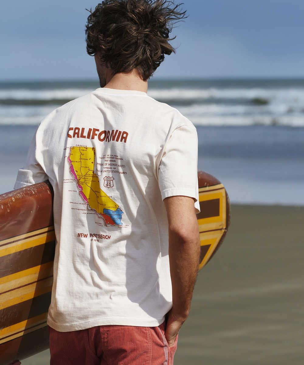 """【別注・先行商品】""""カリフォルニア マップ""""クルーネックTシャツ"""