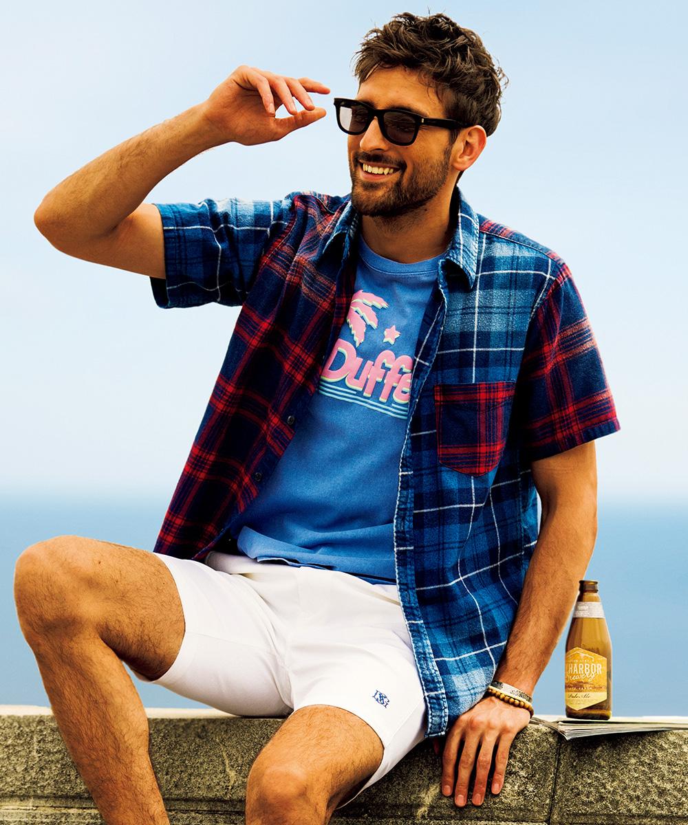 インディゴクレイジーチェック半袖シャツ