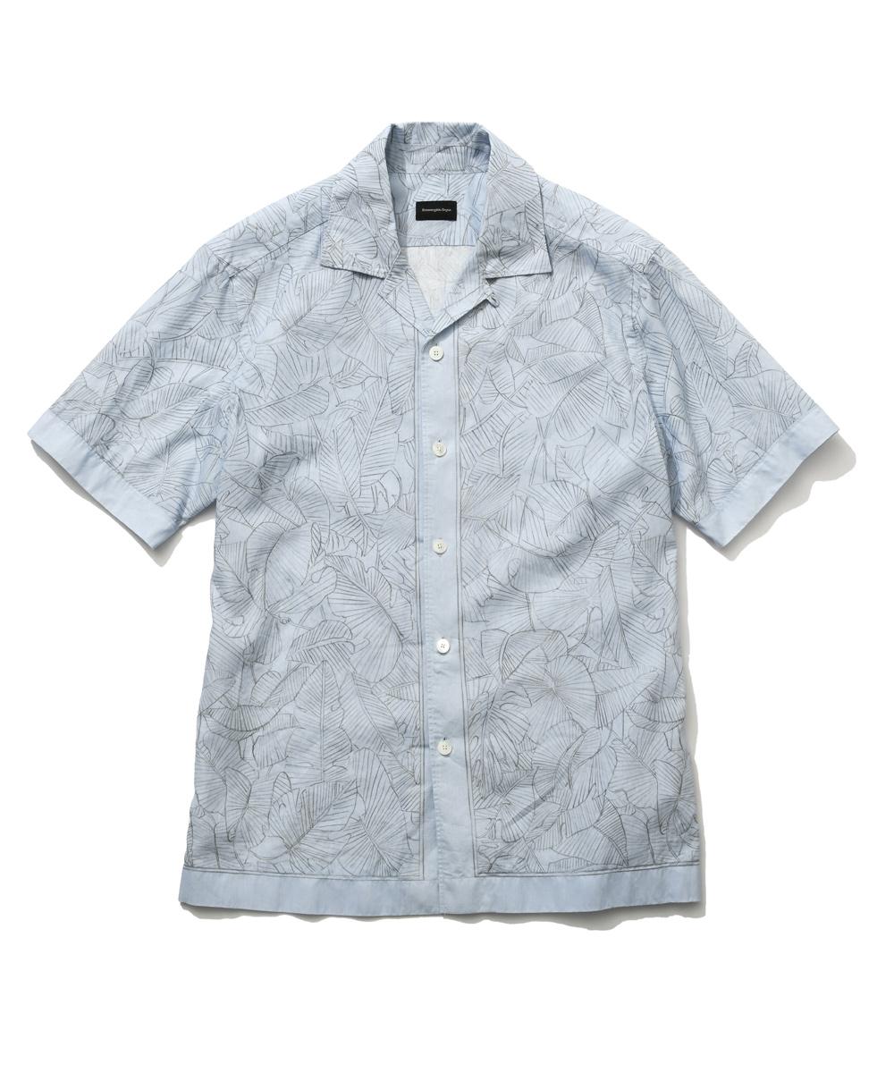 リーフ柄リネンシャツ