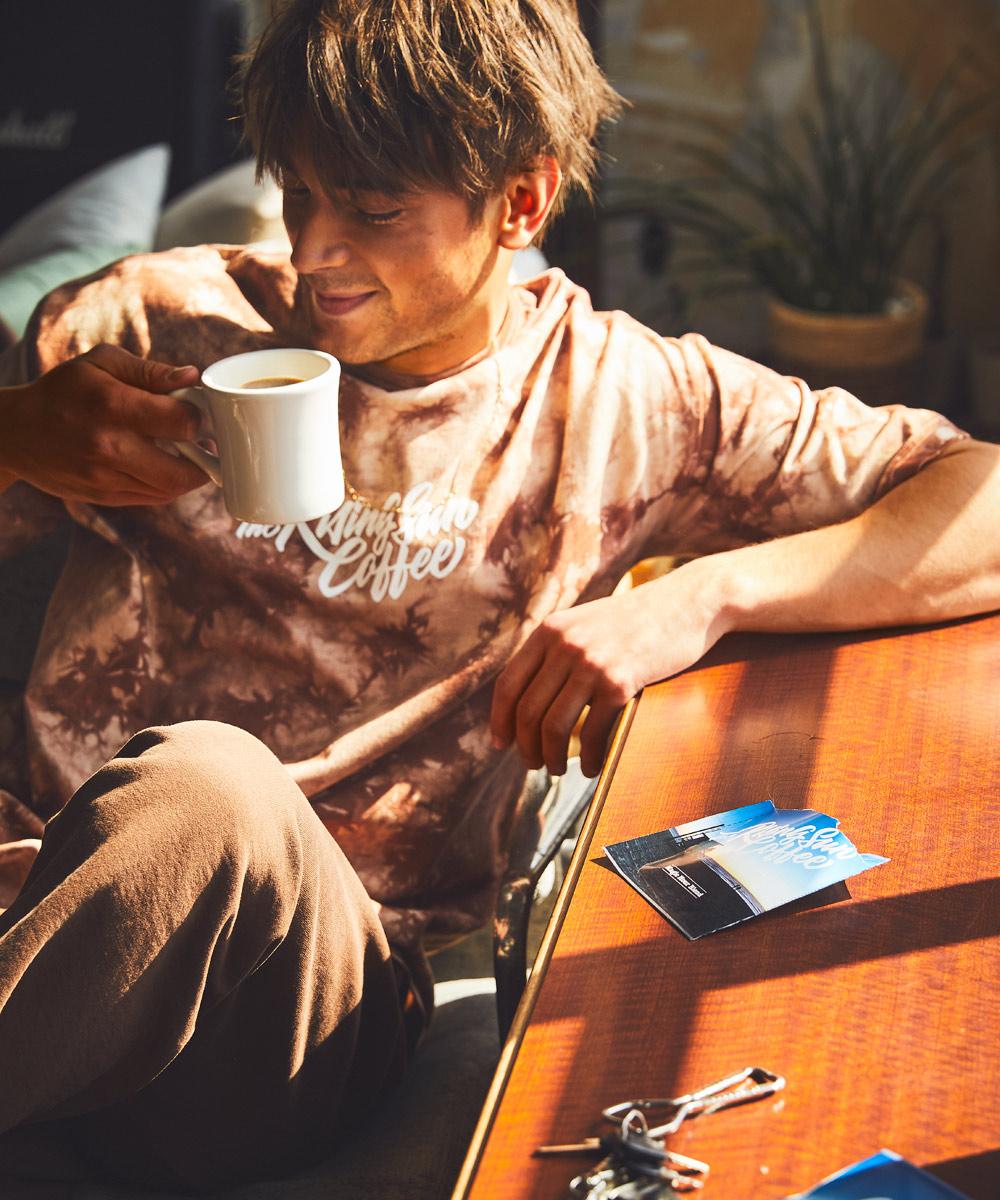 【別注・限定商品】キャプテンズ ヘルム×ザライジングサンコーヒー タイダイ染めクルーネックTシャツ コーヒードリップバッグ 5個セット