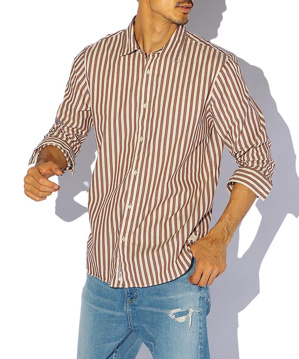 ストライプコットンシャツ