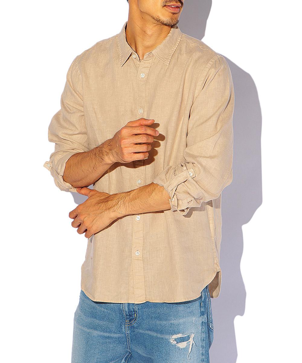 ロゴ刺繍リネンシャツ
