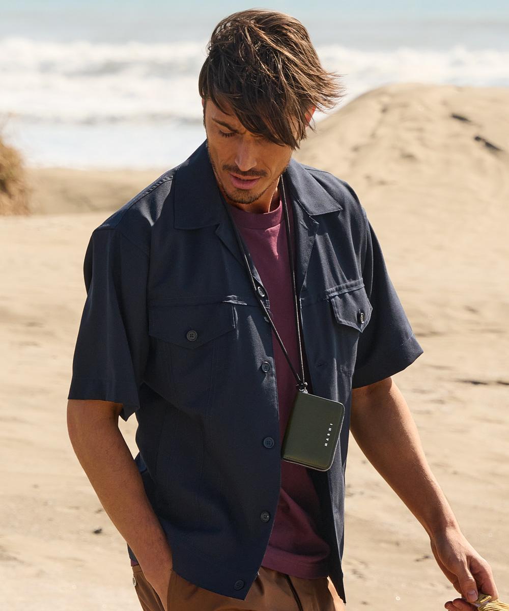トロピカルウール 半袖シャツ