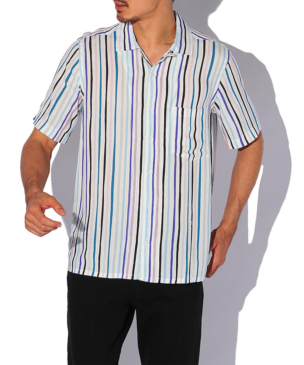 ストライプ半袖レーヨンシャツ
