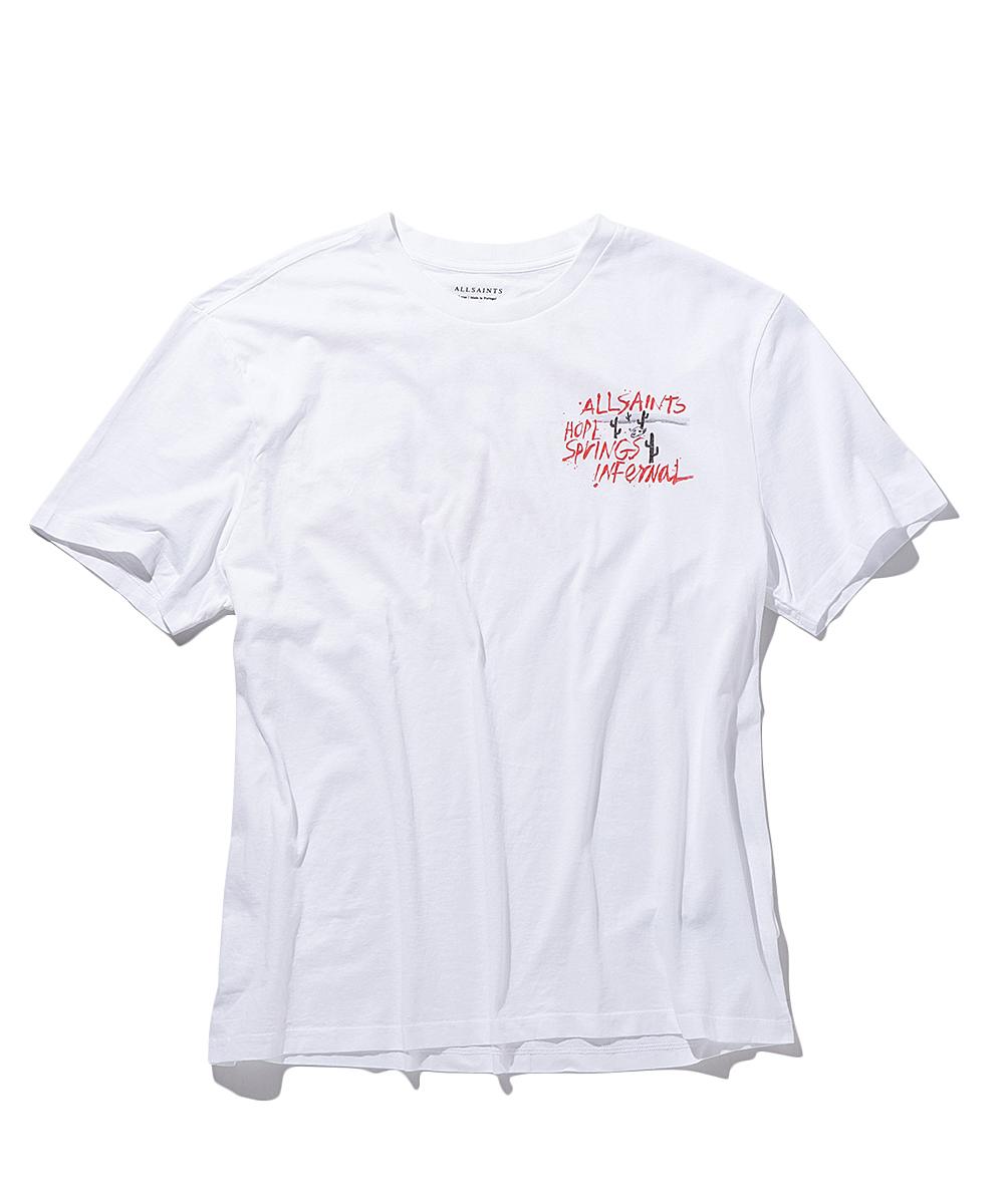 手書きプリントクルーネックTシャツ