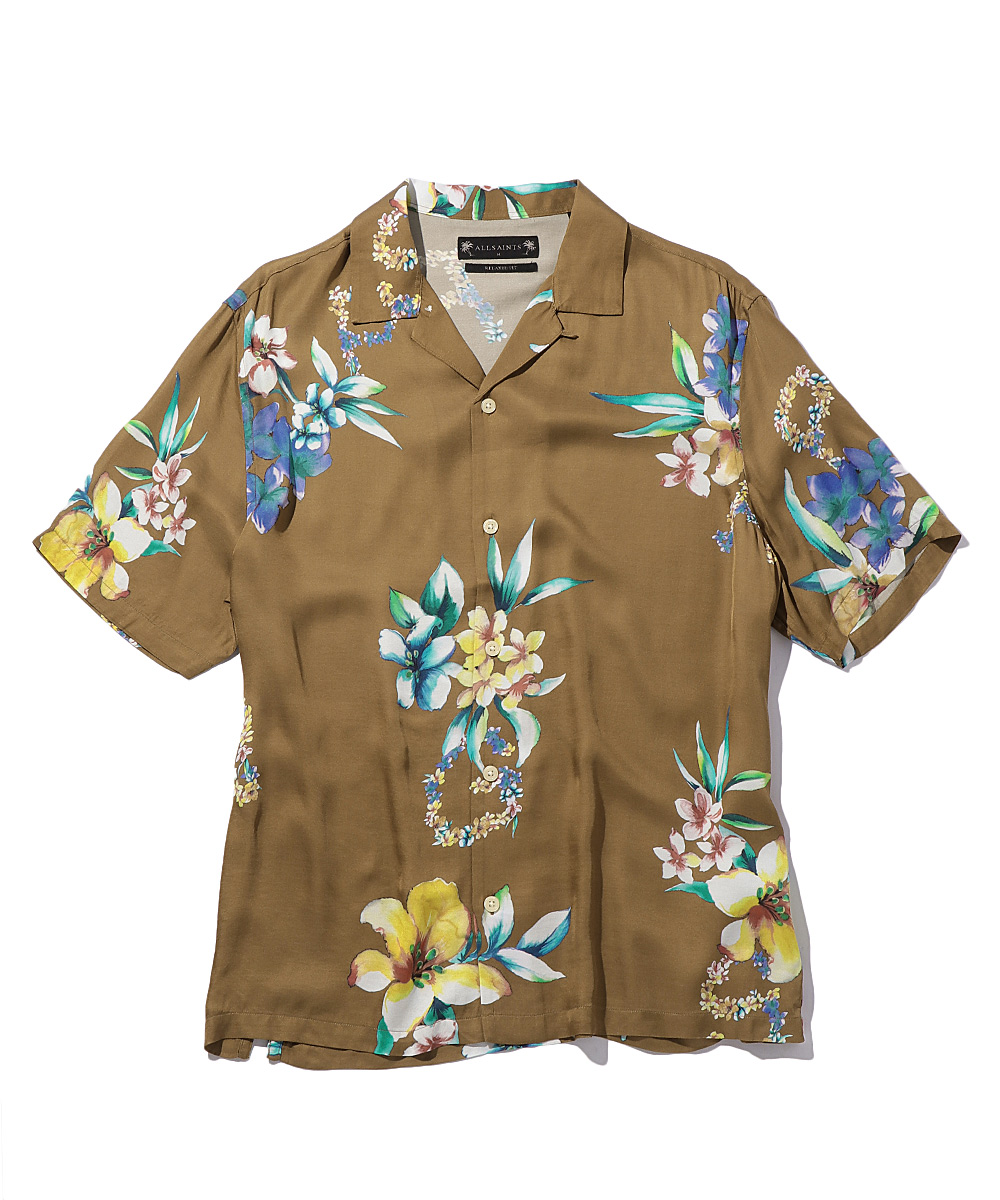 花柄オープンカラーシャツ