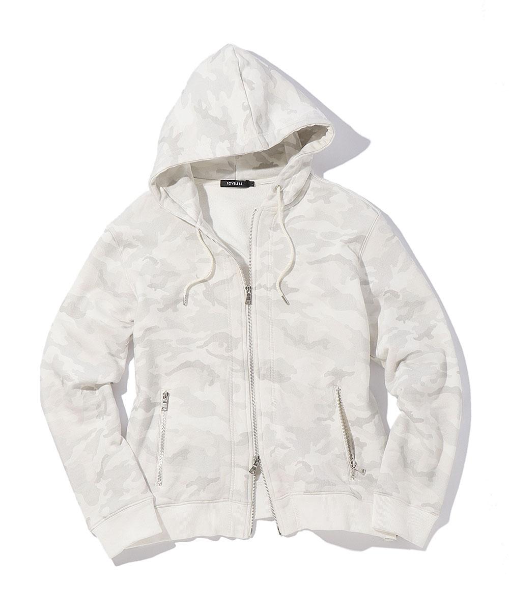 【別注商品】ホワイトカモ柄バックスカル ジップパーカ
