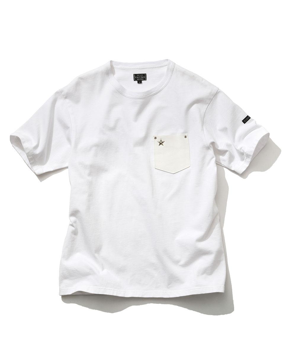 ワンスターレザーポケット クルーネックTシャツ