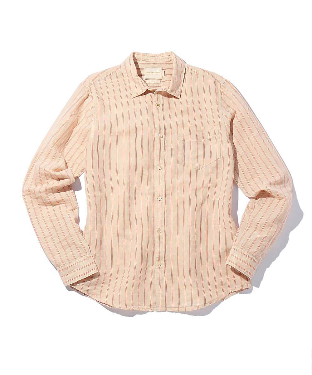 ストライプコットンリネンシャツ