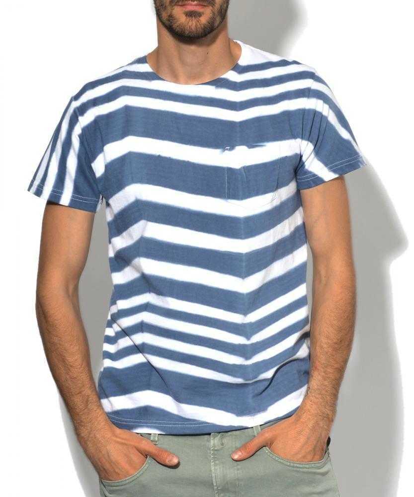 クルーネックボーダーポケットTシャツ