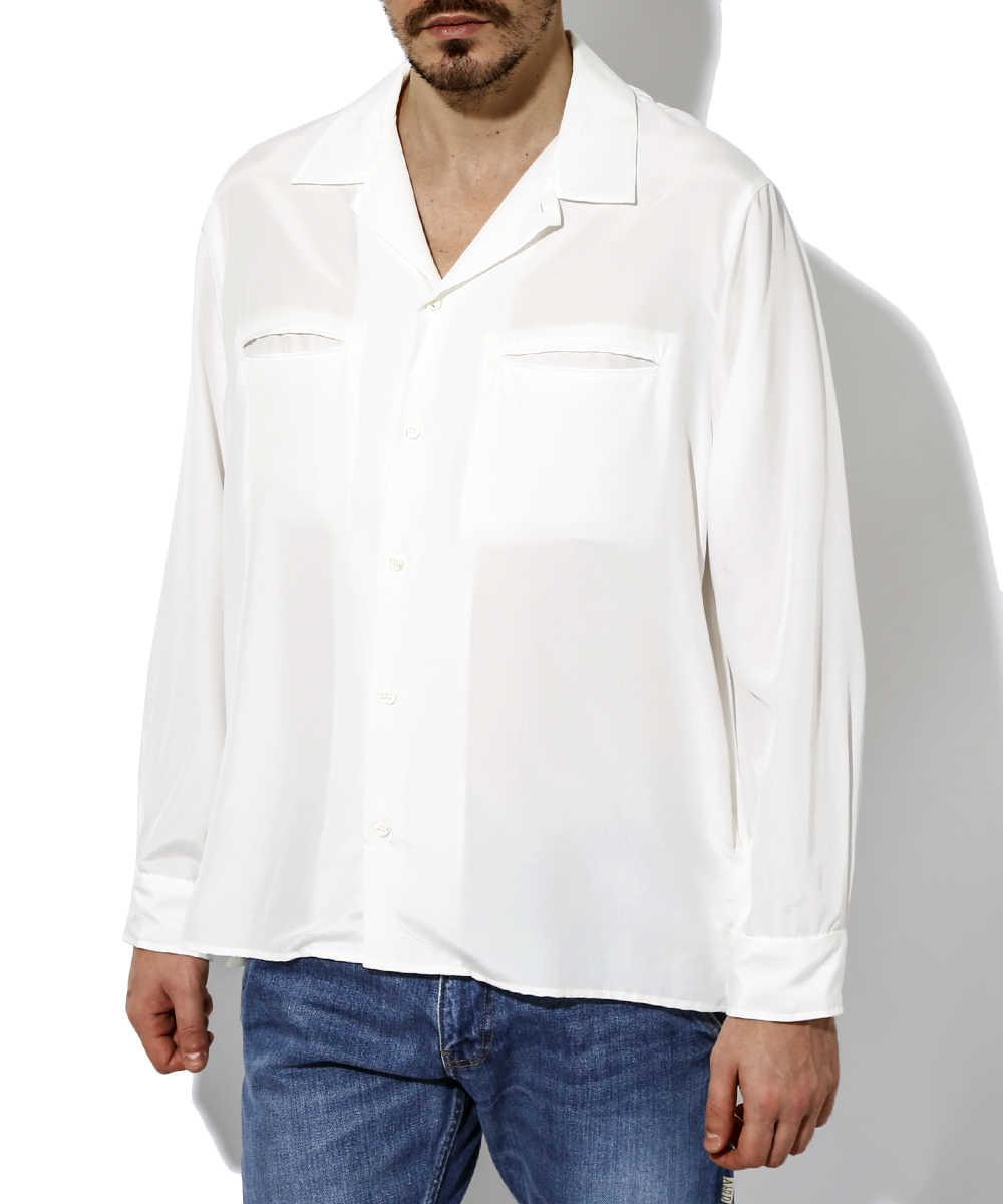 シルクスウェード開襟シャツ