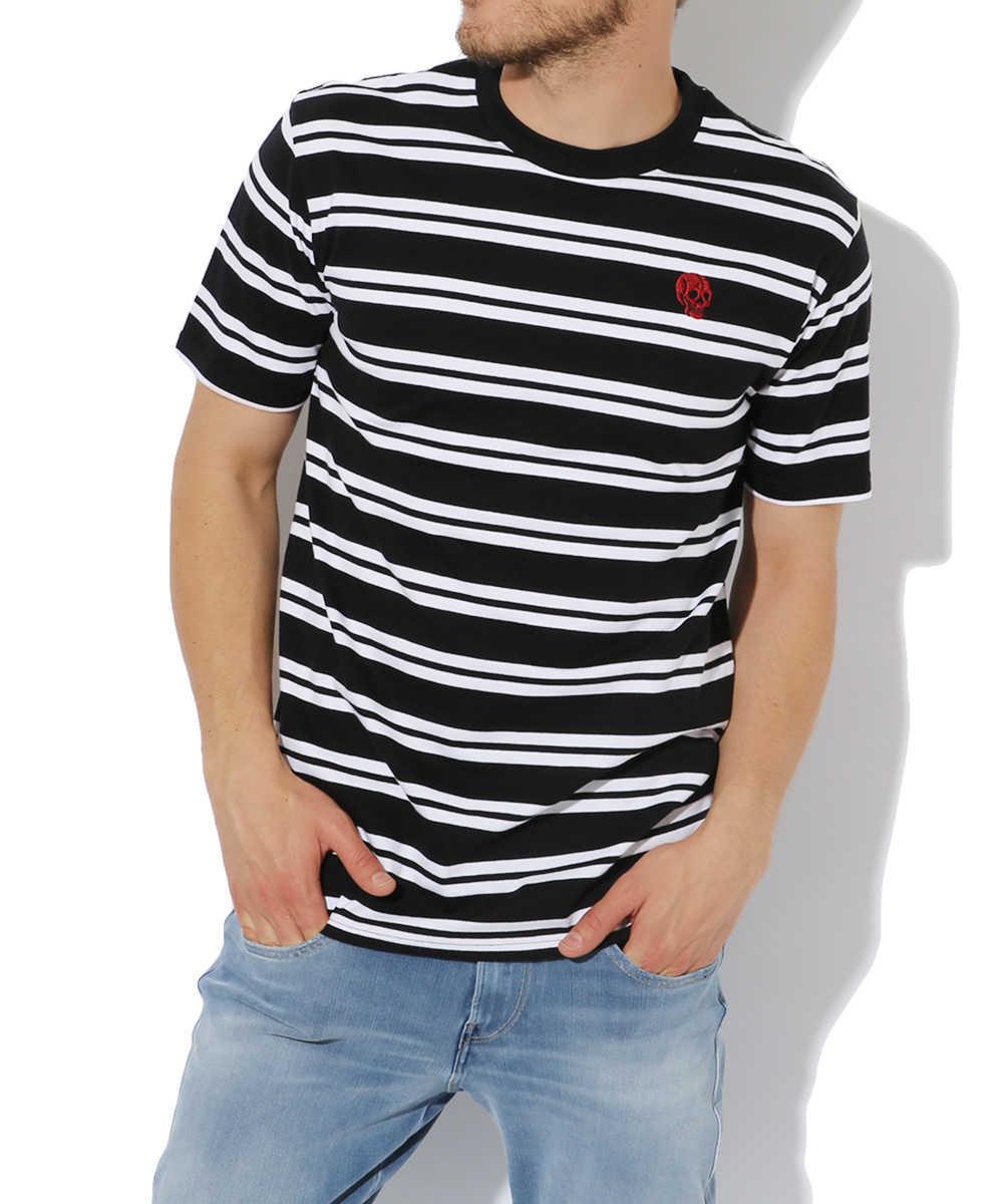 ストライプ柄クルーネックTシャツ