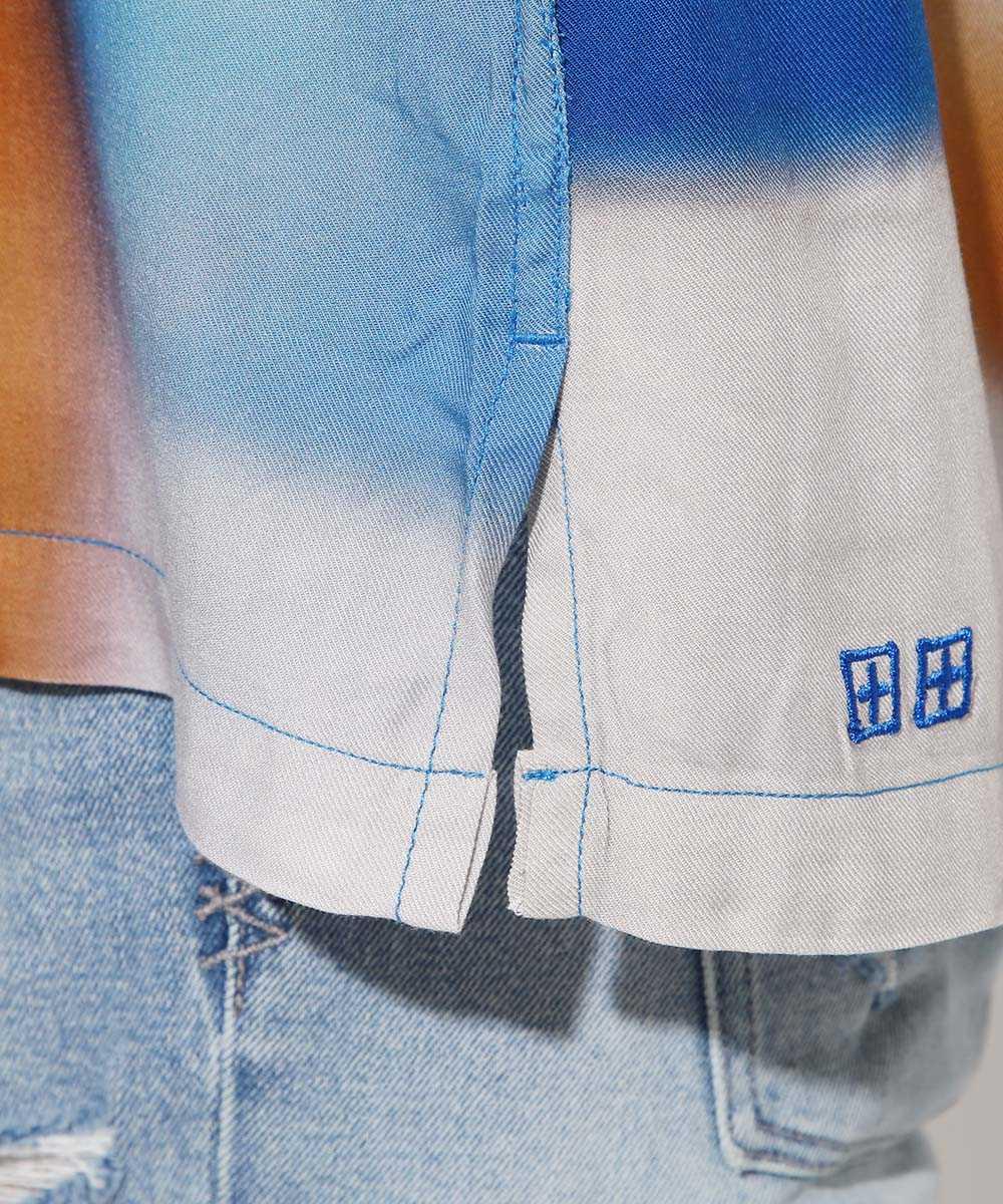 アートプリント半袖シャツ