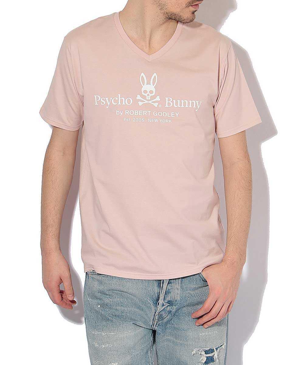 VネックロゴプリントTシャツ