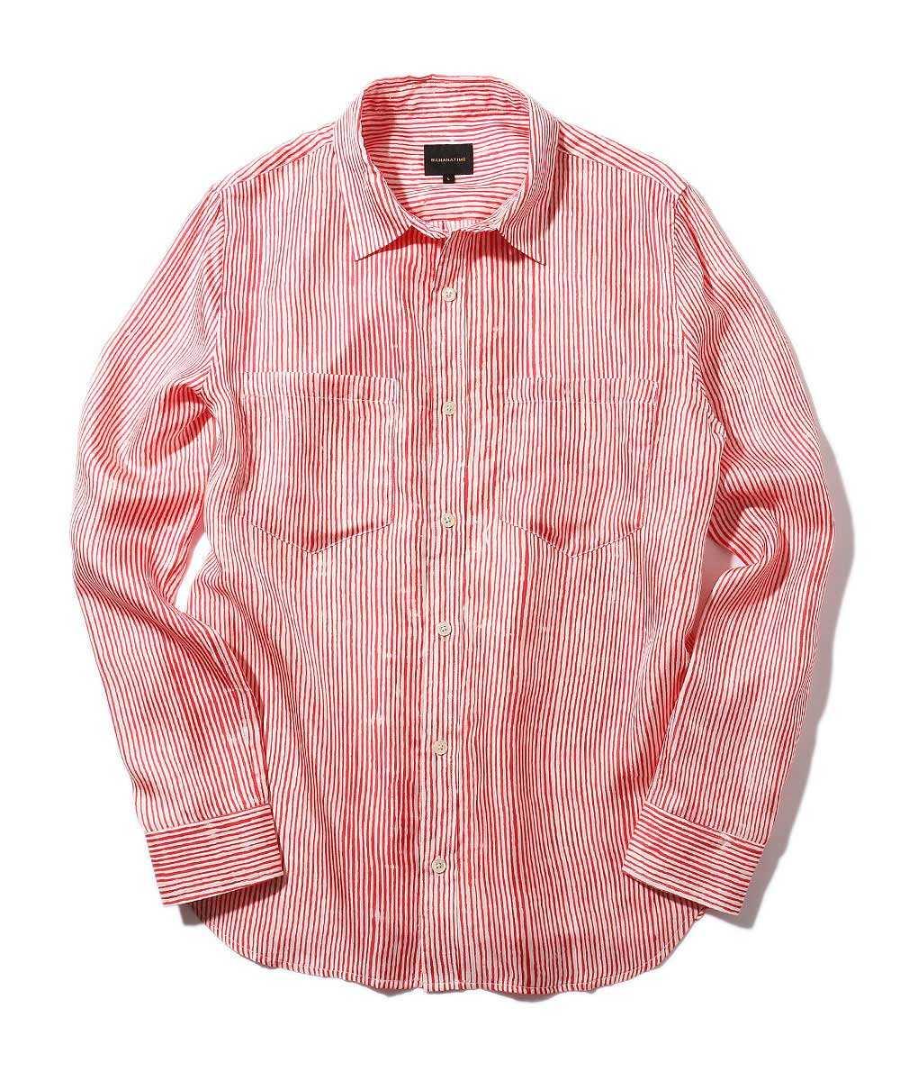 シルクストライプシャツ