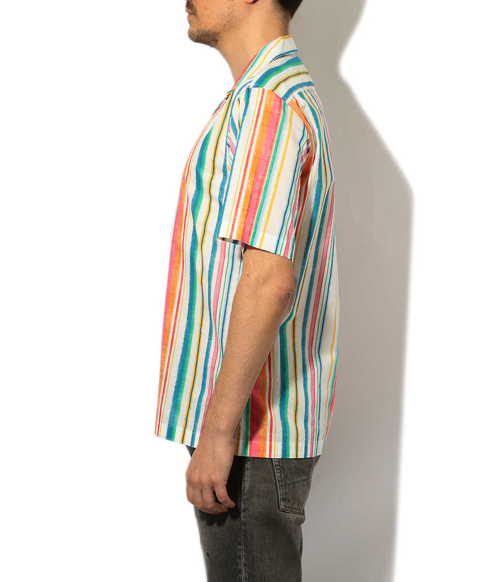 ストライプ開襟シャツ