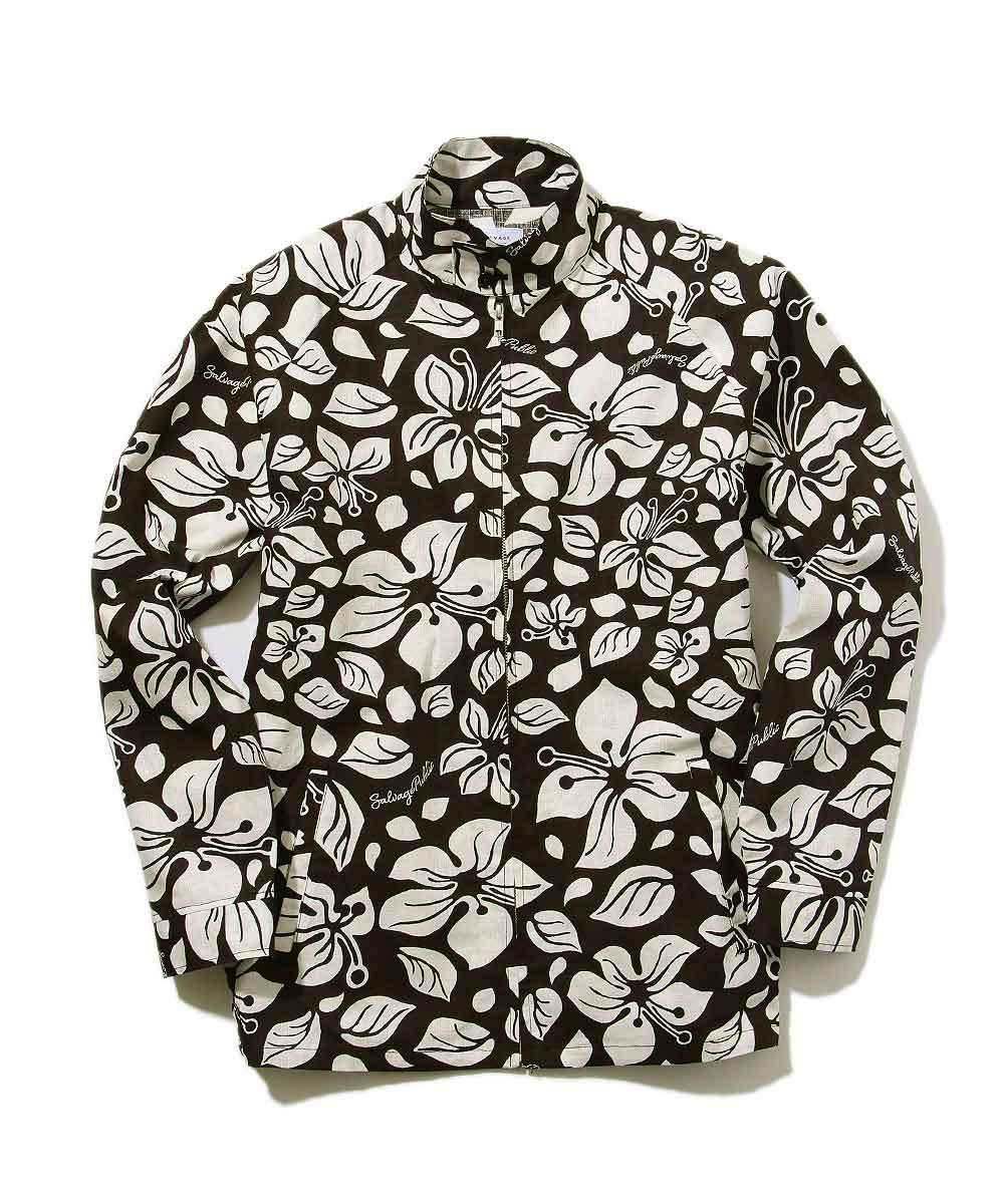 総柄ジップアップシャツジャケット