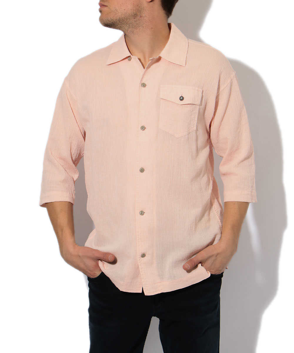 七分袖開襟シャツ