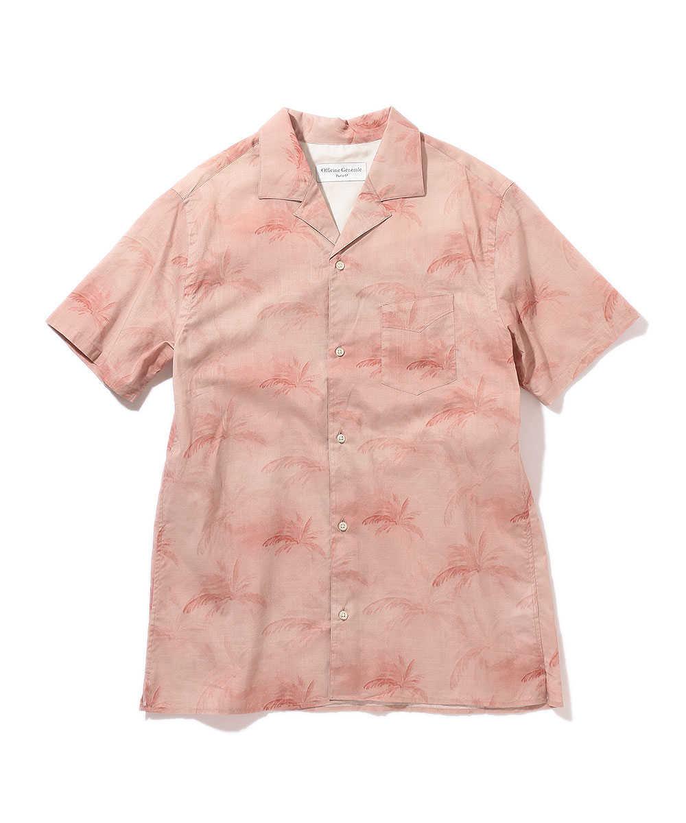 ヤシの木柄開襟シャツ