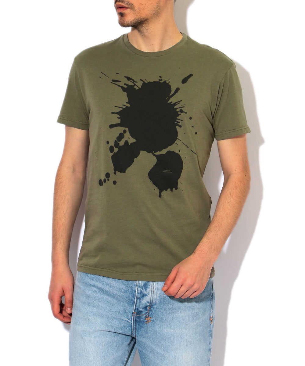 クルーネックペイントTシャツ