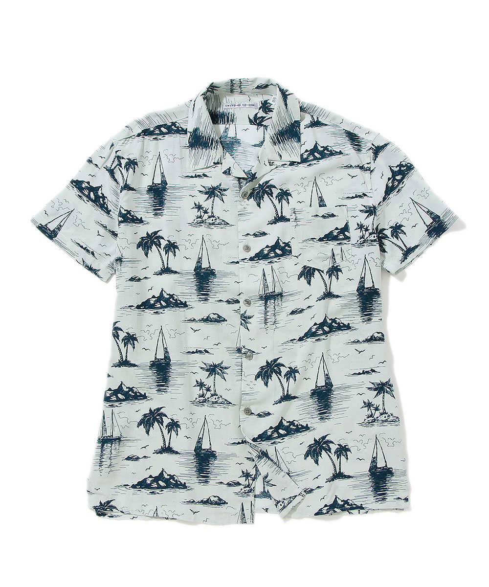 リゾート柄オープンカラーシャツ