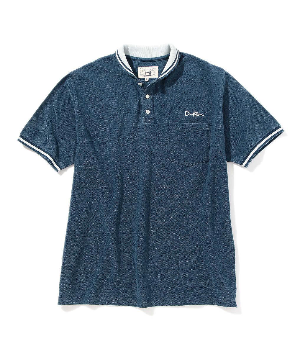 インディゴショールカラーポロシャツ