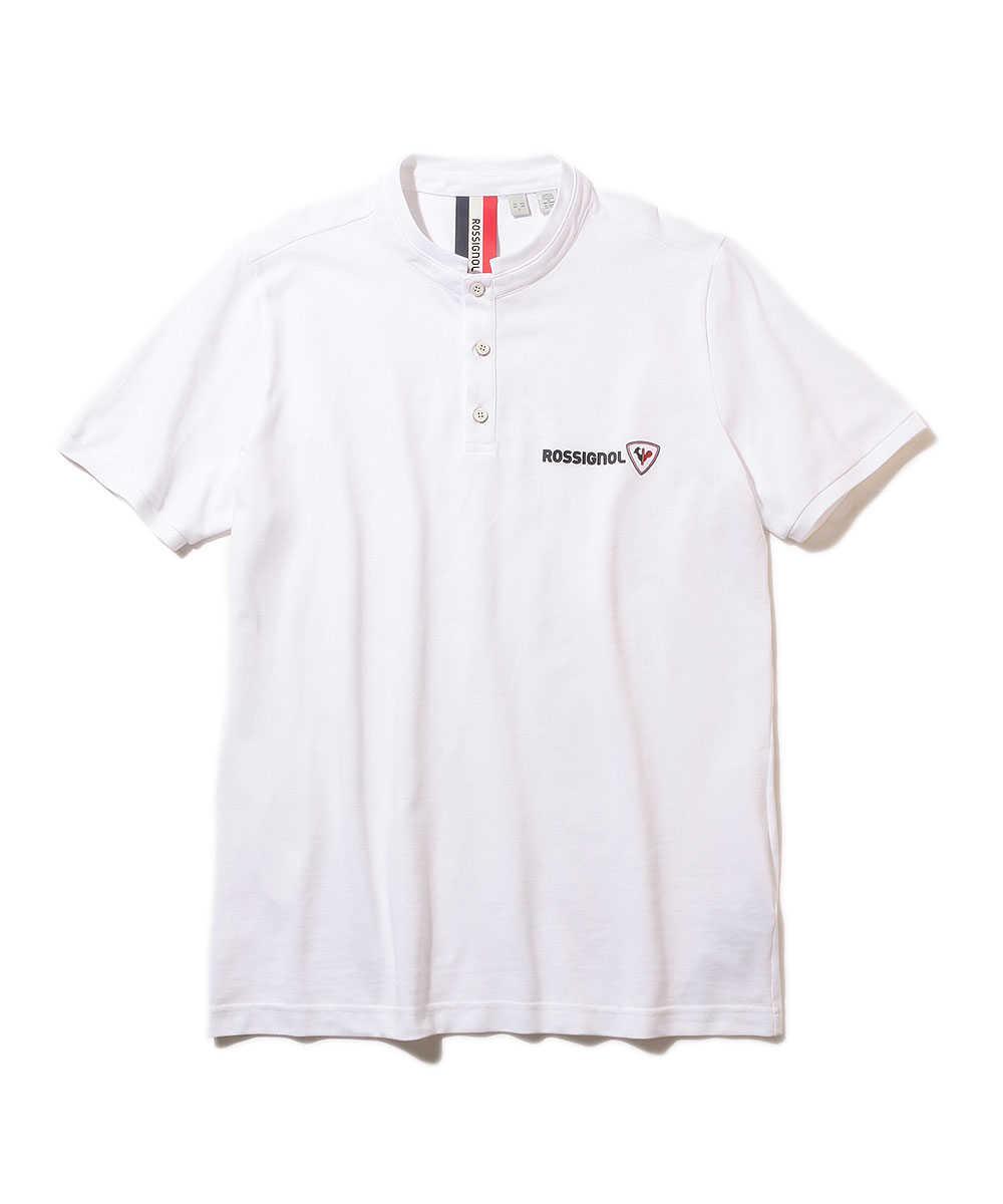 ノーカラーポロシャツ