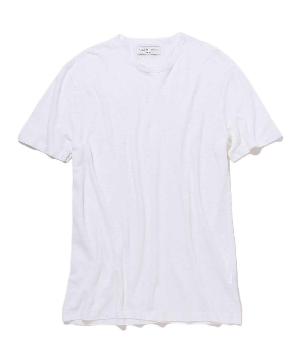 リネンクルーネックTシャツ
