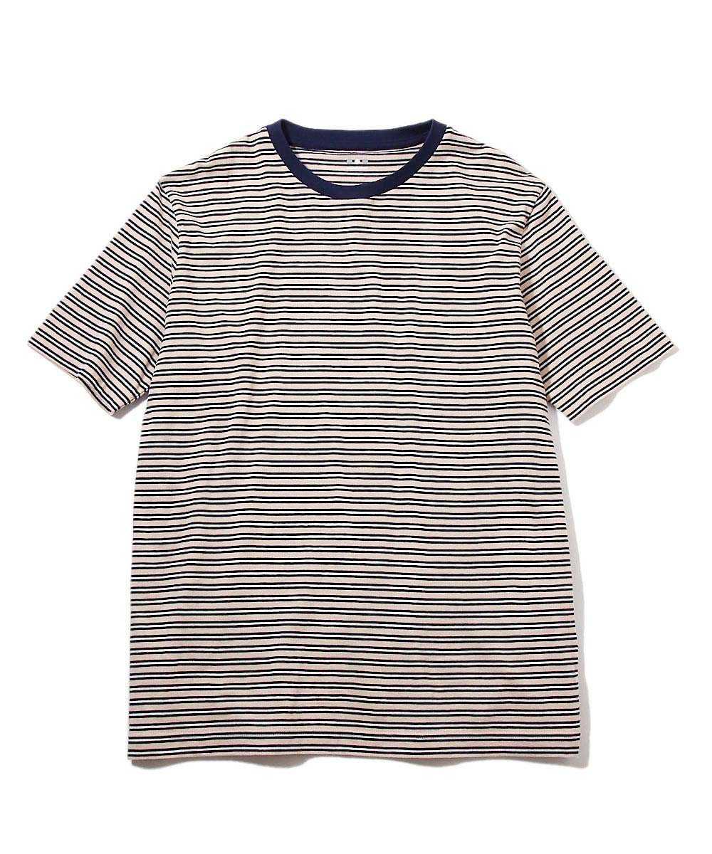 マルチボーダー柄クルーネックTシャツ