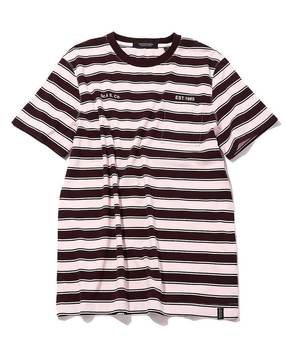 ボーダーウォッシュクルーネックTシャツ