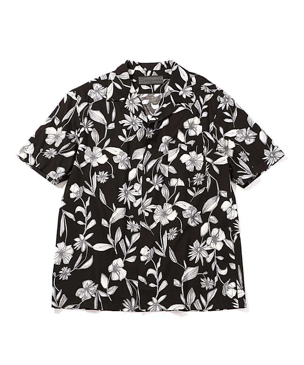 開襟花柄シャツ