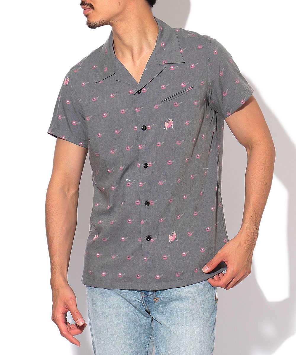 開襟総柄シャツ
