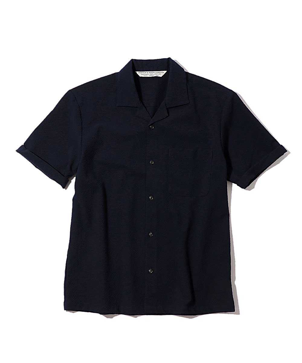 シアサッカー開襟シャツ